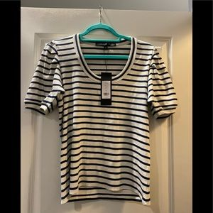 Veronica Beard Blue and White Striped T